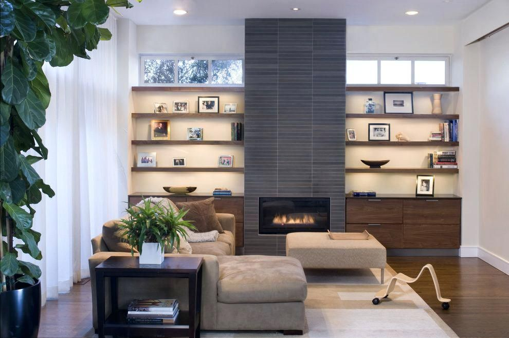 Image Result For Built In Cabinets Next Modern Fireplace On Walnut