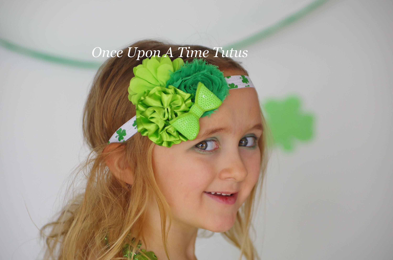 St Patricks Day Green Sequin Shamrock Hairbow Kids Headband Baby Girls Hair Bow