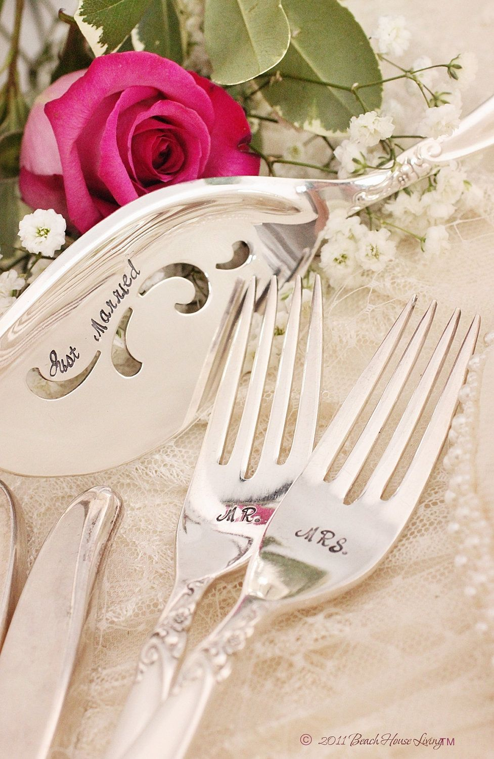 Sarah smith wedding table setting mr mrs forks and just married