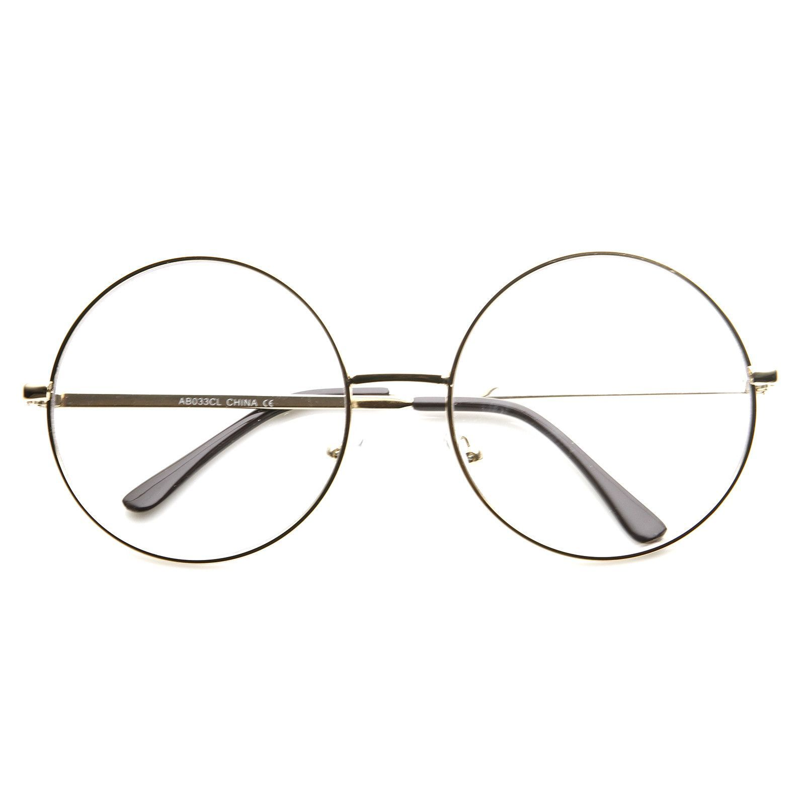 3dc16ab96be2 Vintage Era Super Large Round Circle Metal Clear Lens Glasses 8714 from  zeroUV