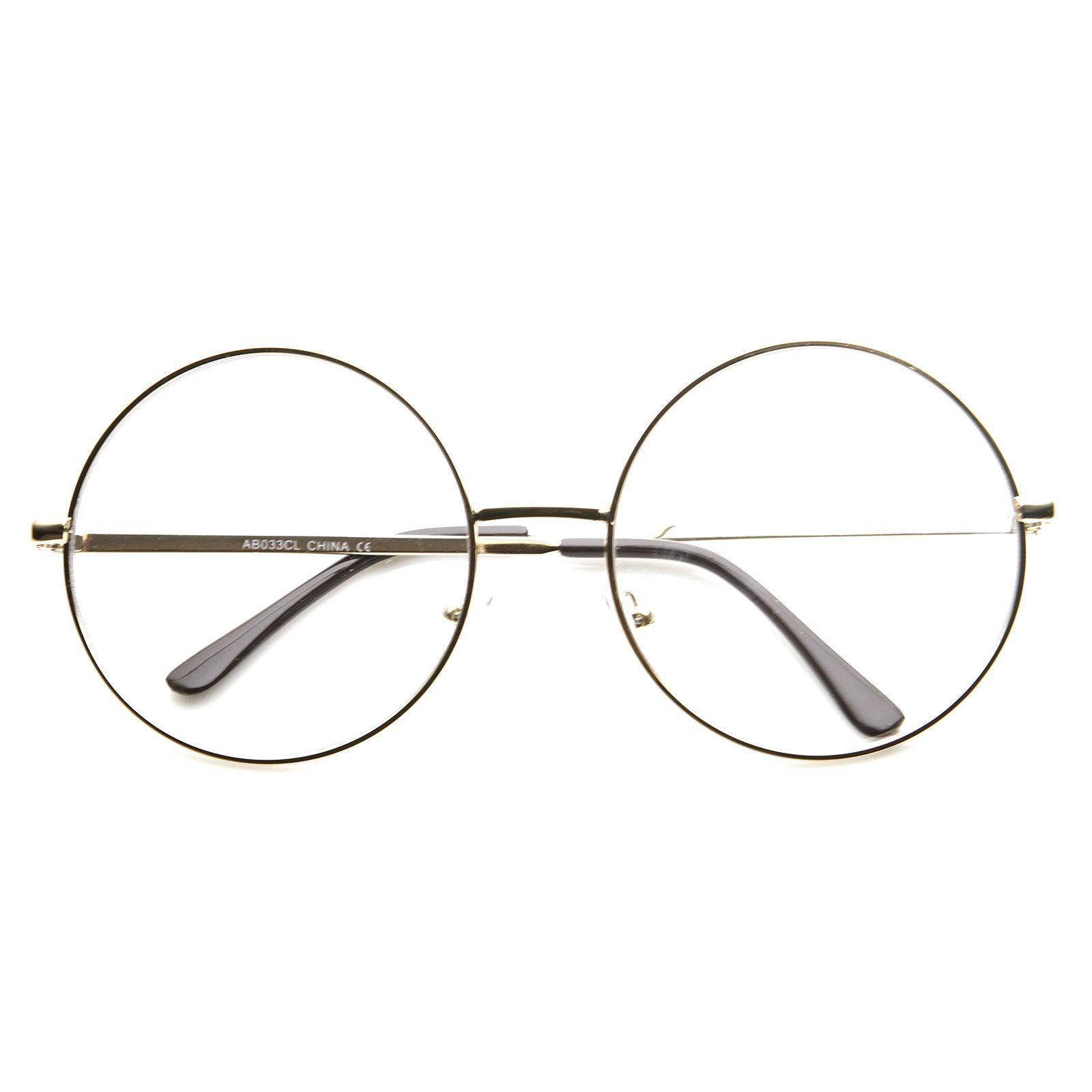 1920 S Vintage Era Large Round Metal Clear Lens Glasses 8714