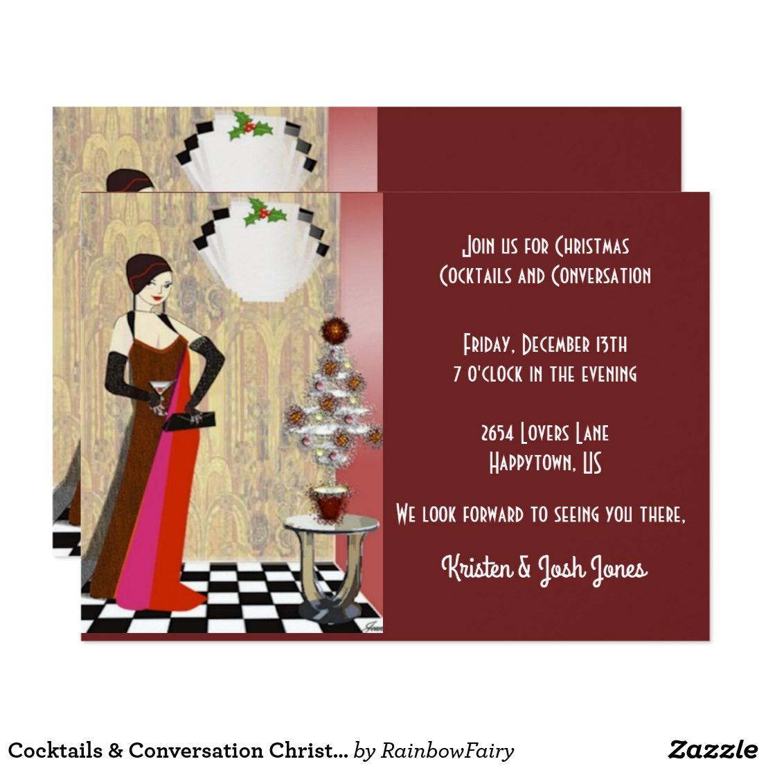 Cocktails conversation christmas invitation christmas party cocktails conversation christmas invitation stopboris Choice Image
