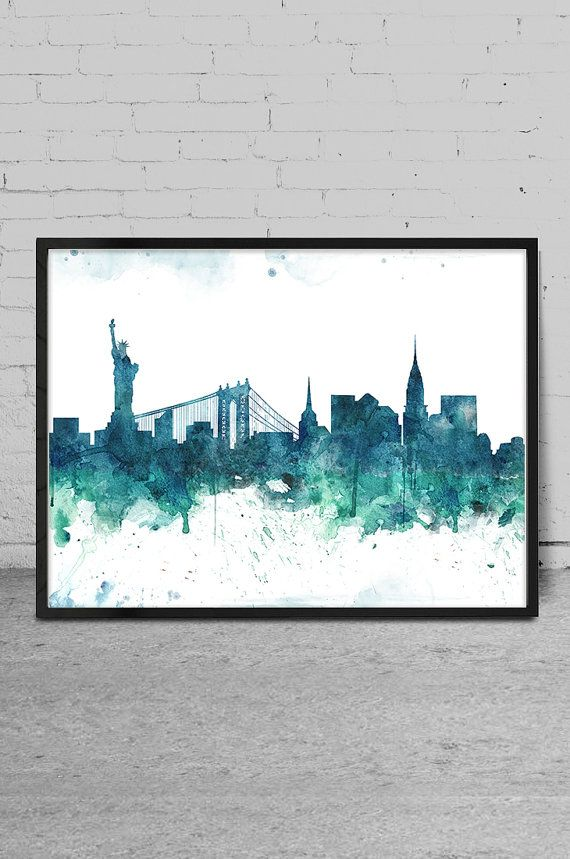 New York City Watercolor Skyline Wall Art Print   New York Watercolor Artu2026 Part 76