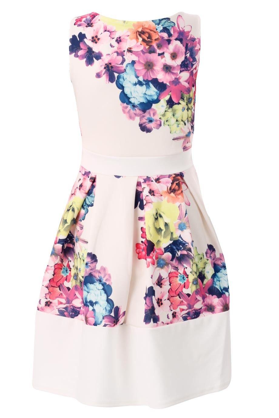 Sukienka Mini Rozkloszowana Piekne Kwiaty Kokarda Aurora