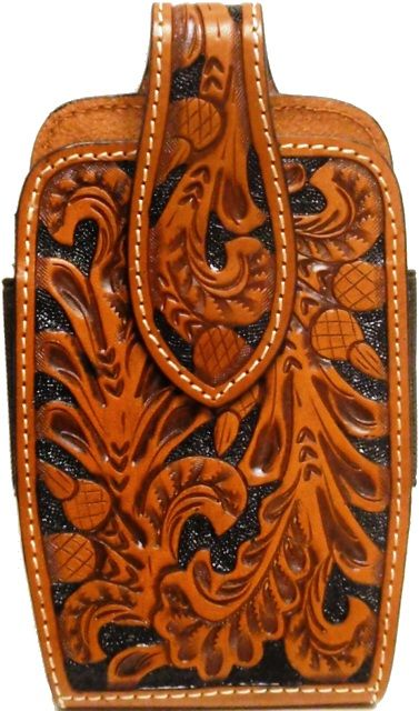 newest collection dbf52 374f8 Western Tan Tooled Leather Cell Phone Holder for iPhone 7/8 ...