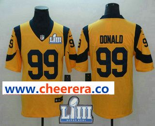1bf032601bb Men s Los Angeles Rams  99 Aaron Donald Gold 2019 Super Bowl LIII Patch Color  Rush Stitched NFL Nike Limited Jersey