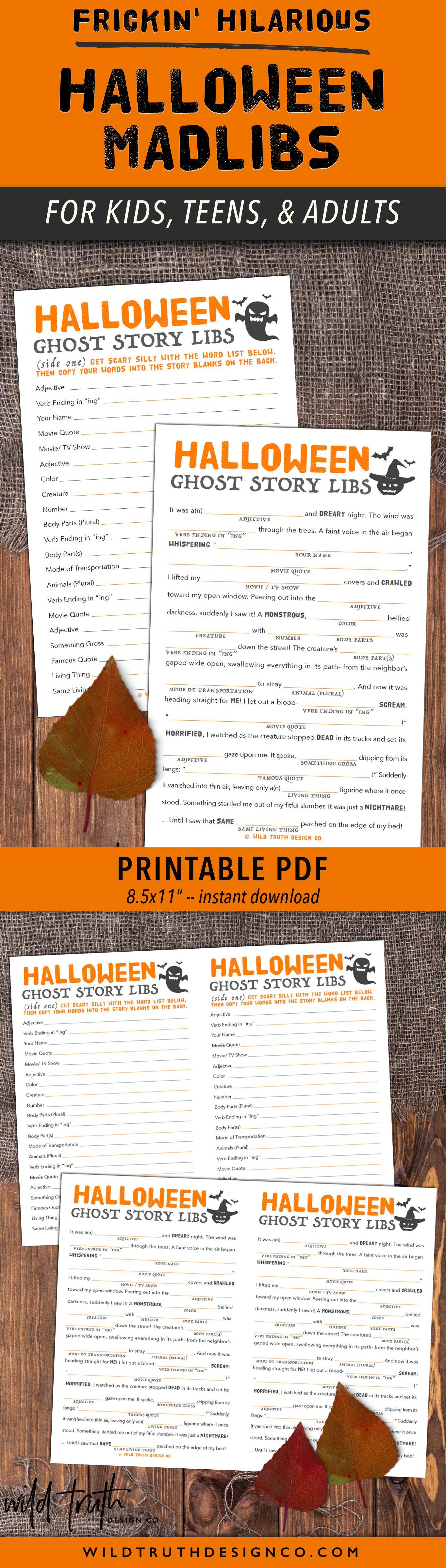 Printable Mad Libs Halloween Story For Kids Tweens