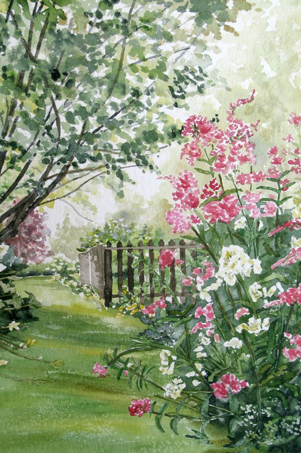 Misty Morning, An Original Watercolor Painting Of A Maine Garden By Beth  Whitney