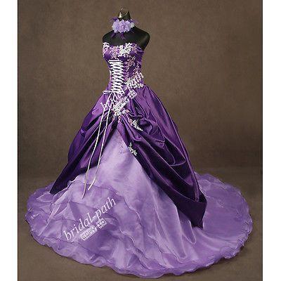 Unique Amazing Purple Gothic Lilac Pink Wedding Dress Ball