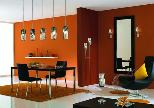White And Orange Dining Room Color Schemes  Idnarancs Extraordinary Dining Room Color Design Decoration