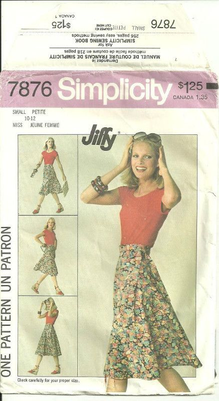 Simplicity 7876 Sewing Pattern Misses Front Wrap Skirt Size Small 10 ...