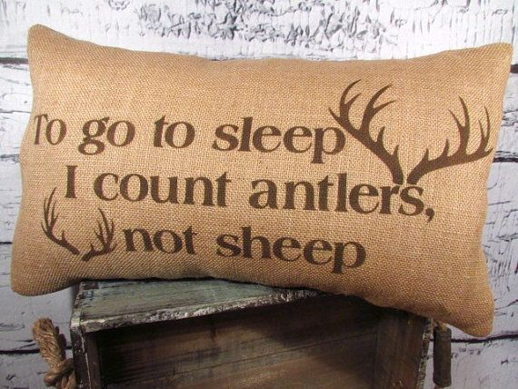 12X20 Pillow Insert Alluring Burlap Antlers Pillow Cover  To Go To Sleep I Count Antlers Not Review