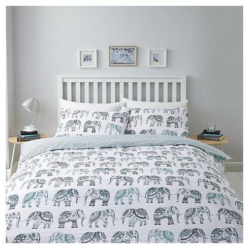 Tesco Direct Grey Elephant Duvet Set Double Flat Pinterest Sets And
