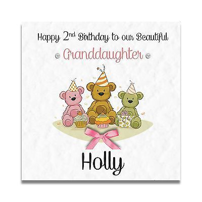 Handmade Personalised Granddaughter Daughter Sister 1st 2nd 3rd Birthday Card