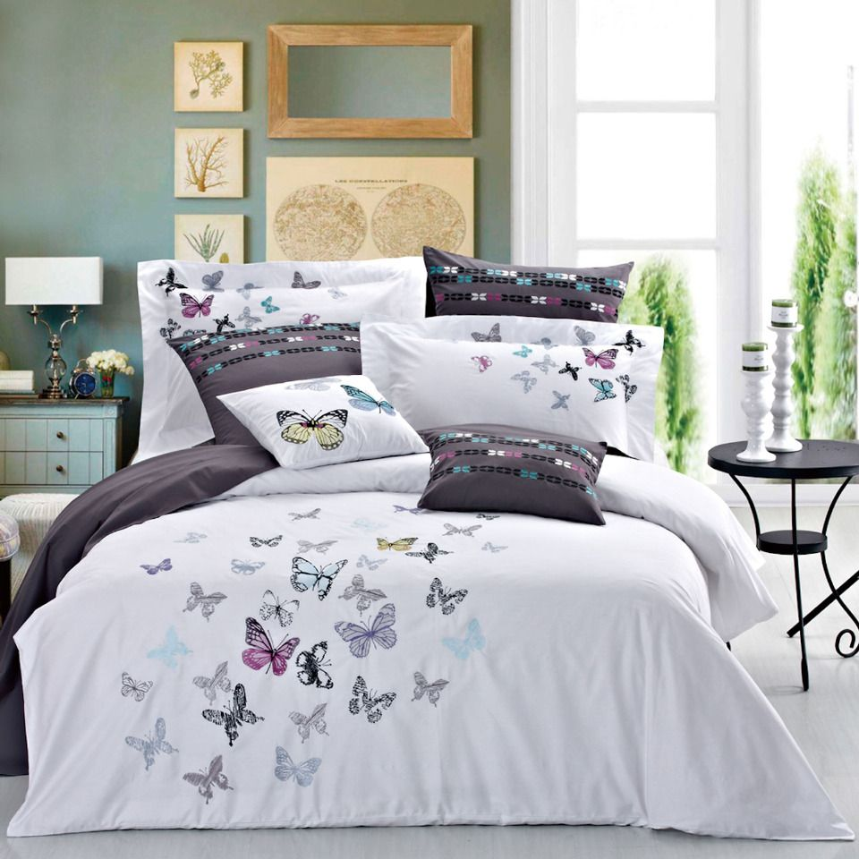 Elegant Purple Flower With Butterfly Print 3d 7 Piece Bedding Sets Queen King Super King Size Http Butterfly Bedding Butterfly Bedding Set Floral Bedding Sets