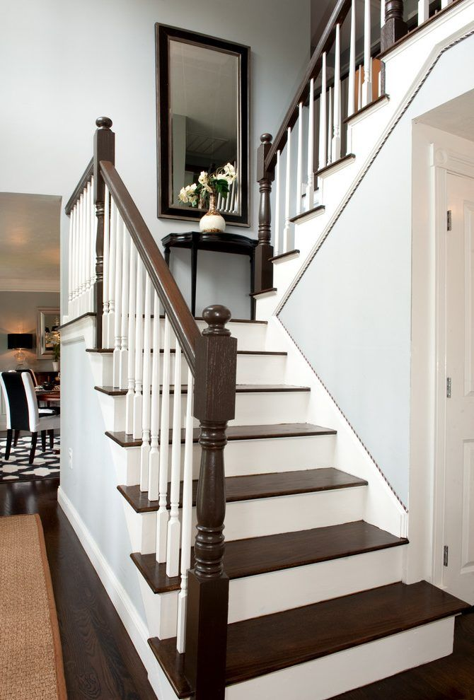 Best Dark Wood Stairs Staircase Traditional With Stair Banister 640 x 480