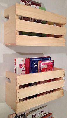 2 Med Crate Style Book Shelves Shelf Kids Rustic Crates Wall Mount Pinterest Ebay Bookshelves Diy Crate Shelves Crate Shelves Kids