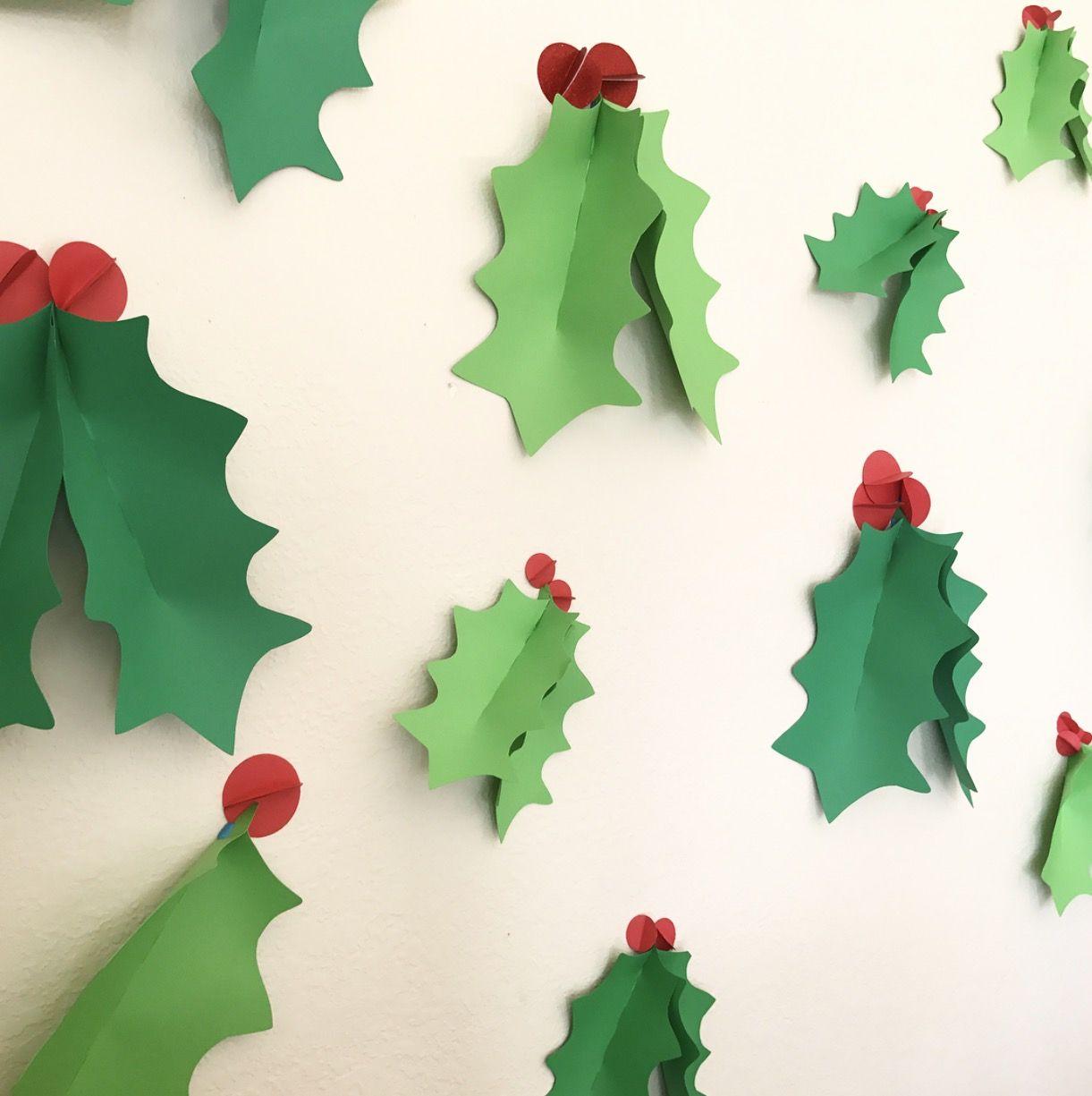 3d Wall Holly Christmas Decor Holiday Decor Christmas