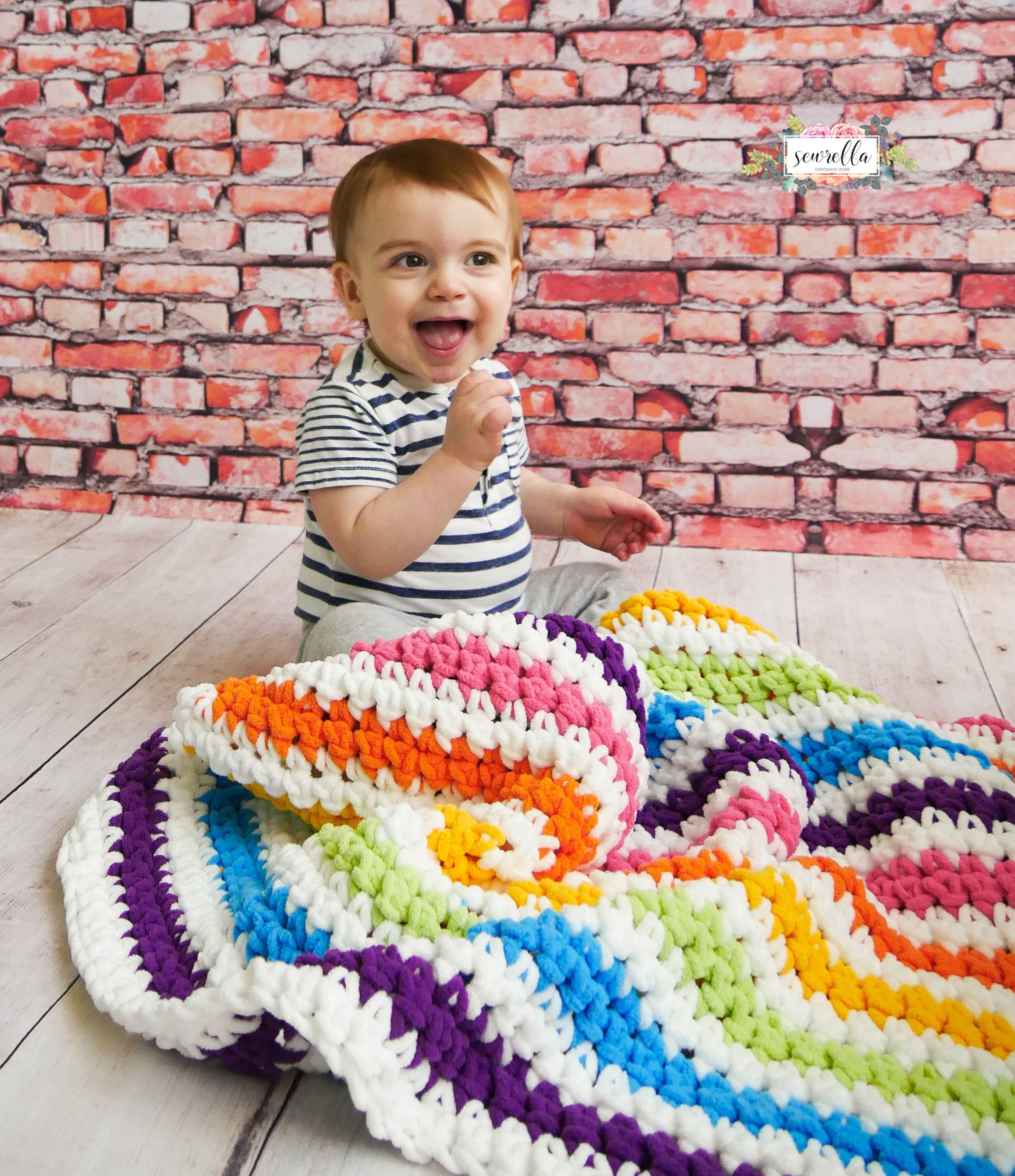 Crochet Rainbow Stripes Baby Blanket