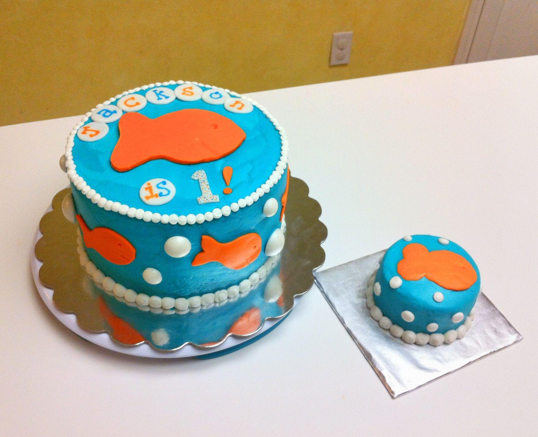 Goldfish cracker themed first birthday cake and matching smash