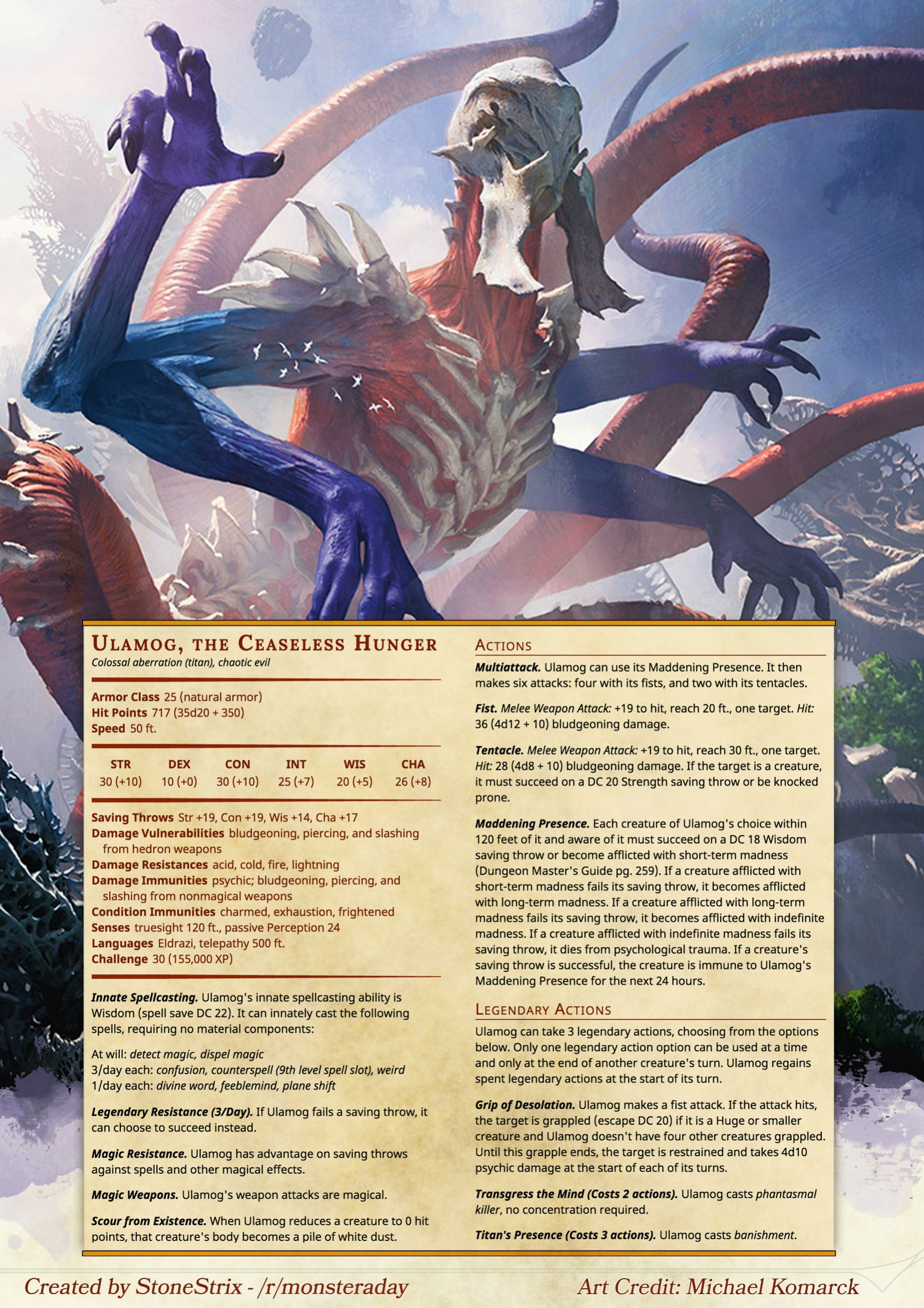 Ulamog The Ceaseless Hunger In 2020 Mtg Art Fantasy Creatures