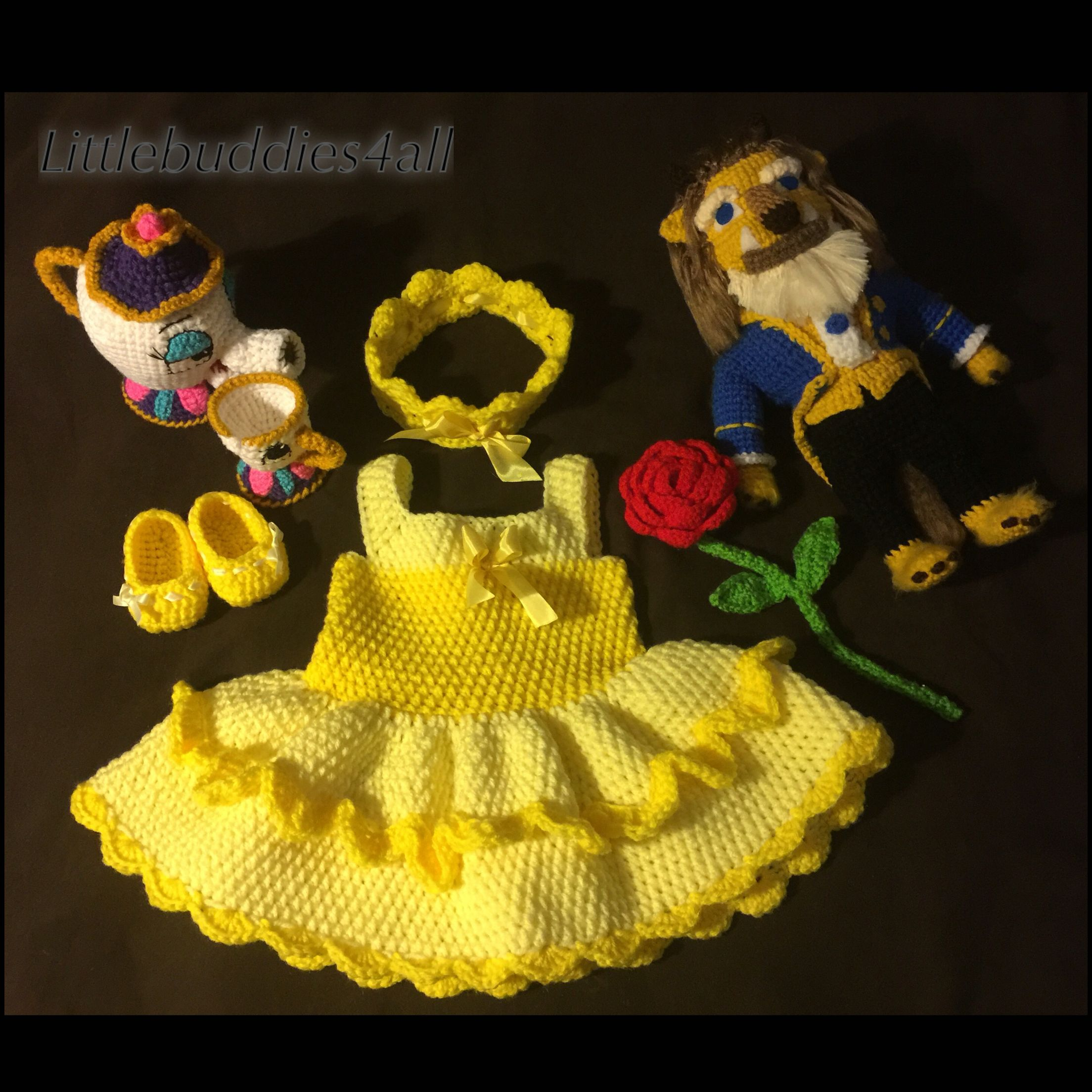 Crochet beauty and the beast inspired photo prop dress and dolls Littlebuddies4all