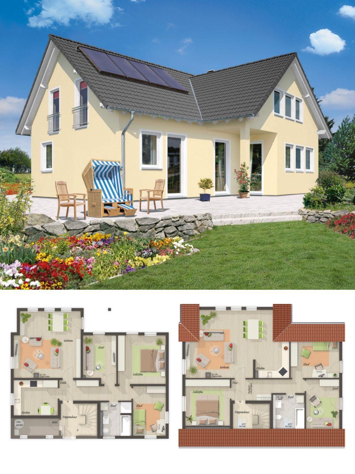 Zweifamilienhaus als modernes Landhaus mit Giebel & Satteldach ...