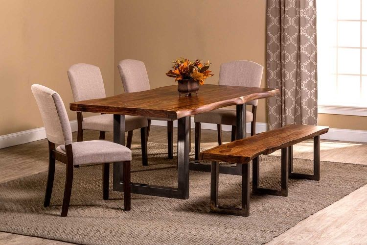 Emerson 6-Piece Rectangle Dining Set - Natural Sheesham/Gray Powder