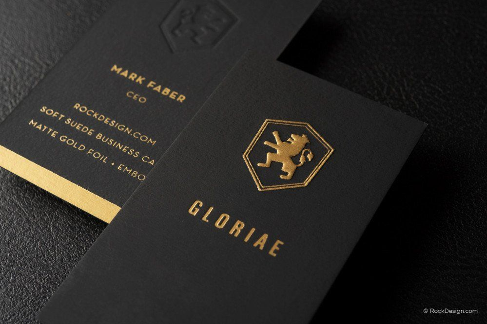 Full Bleed Gold Embossed Suede Template 1 Suede Business Cards Embossed Business Cards Foil Business Cards