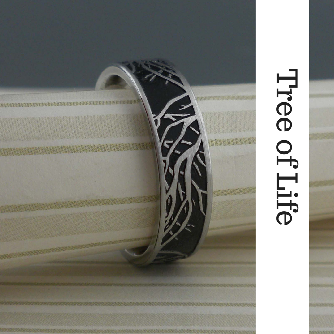 Custom Titanium Wedding Ring with Tree of Life design Black