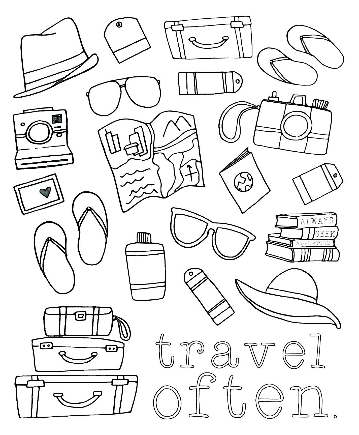 Travel Often Adult Coloring Page Bullet Journal Decoration Coloring Books Travel Book Diy
