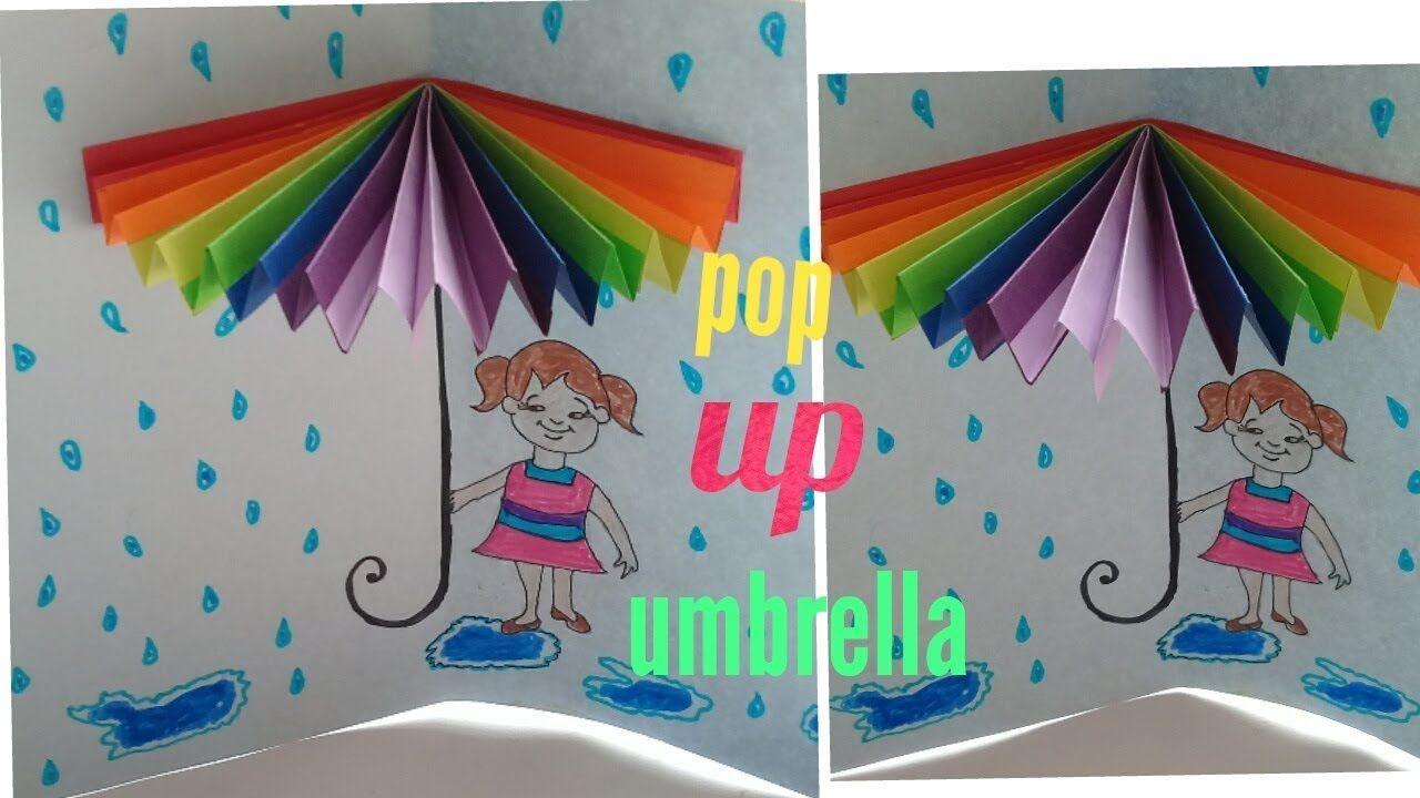 Diy How To Make Popup Umbrella Card Youtube Umbrella Cards Valentine Cards Handmade Umbrella Craft