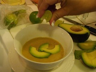 Cuban Sopa de Platano de Timbiriche - (Plantain chips, onion, lime juice, avocado, cumin... Hmm, sounds interesting.)