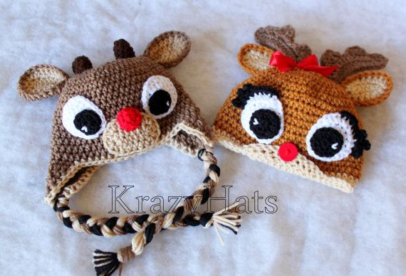 Reindeer hat.Crochet Rudolph the Reindeer hat. Clarisse beanie ... 14d9904e185