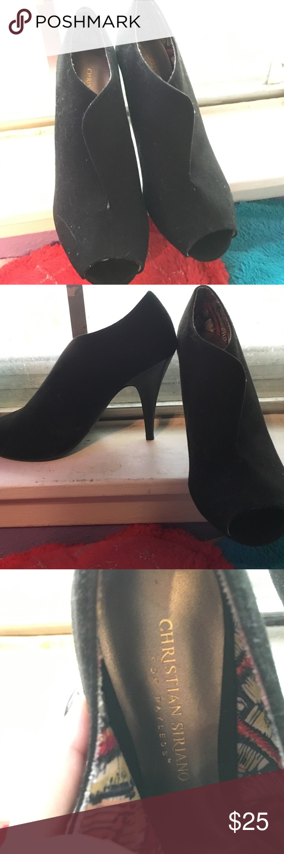 Black open toe stilettos Worn few times. Perfect for a night out very comfortable Christian Siriano Shoes Heels
