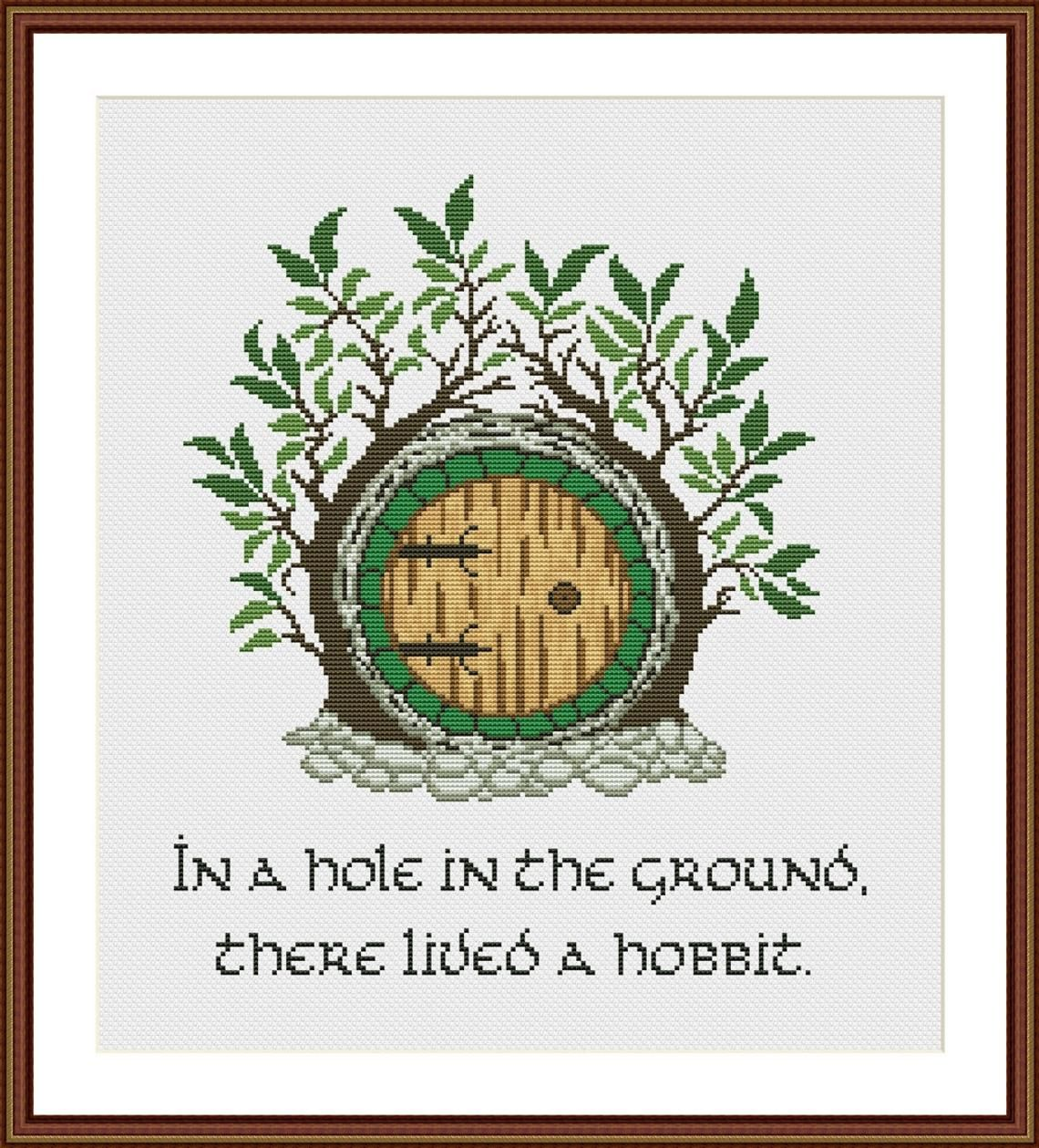 Photo of Hobbit Hole cross stitch pattern Instant Download PDF In A Hole In The Ground, There Lived Hobbit