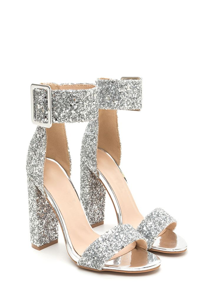 Wide-Eyed Wonder Glitter Chunky Heels SILVER | Shoes Rasss ...