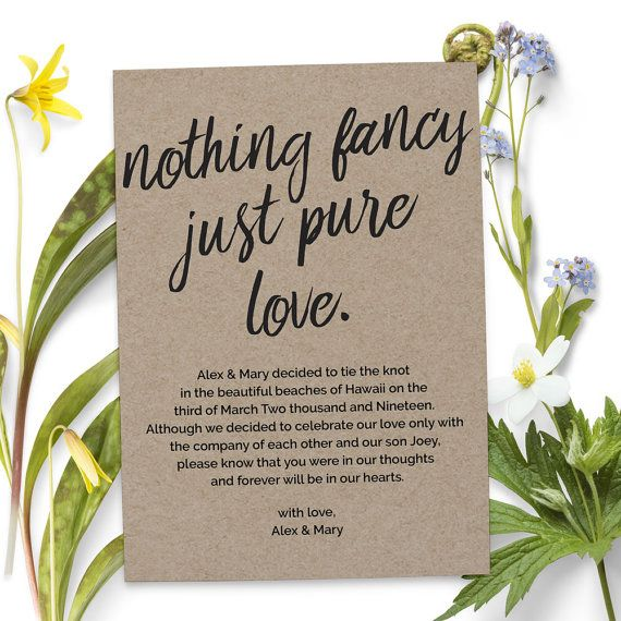 Nothing Fancy Just Pure Love Elopement Announcement Cards Wedding Printed And Printable