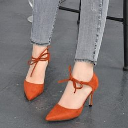 Lace Up Bowtie Pointed Toe Shoes For Women