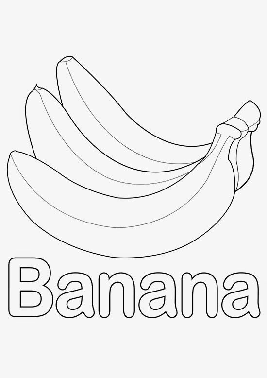 Banana   Coloring Page for Kids   Pinterest