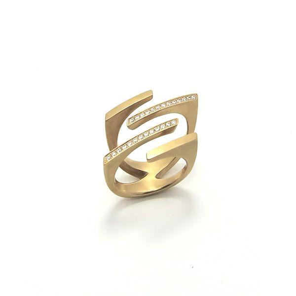 Angela Hubel ring 'Parallel' rosé goud met briljant - bij Annexs juwelier goudsmid Utrecht