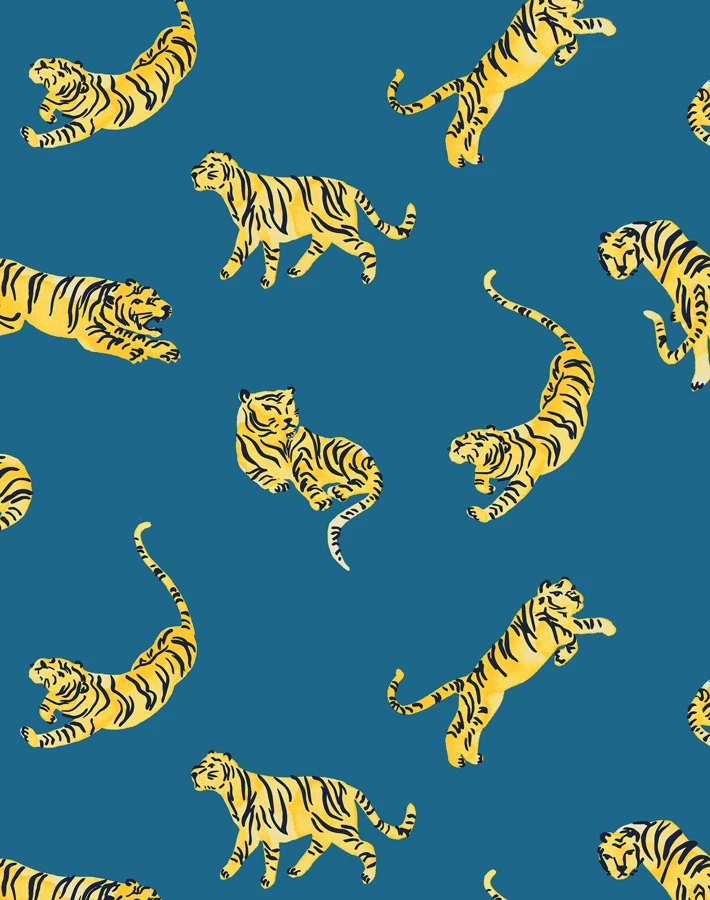 Tigers Wallpaper By Tea Collection Cadet Blue Stick On Wallpaper Wallpaper Tea Collection