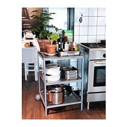 UDDEN Kitchen trolley, silver-colour, stainless steel | Kitchen ...