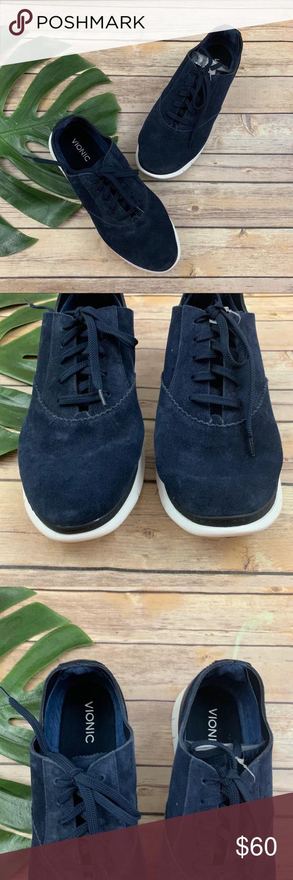 Vionic navy blue suede comfort sneakers
