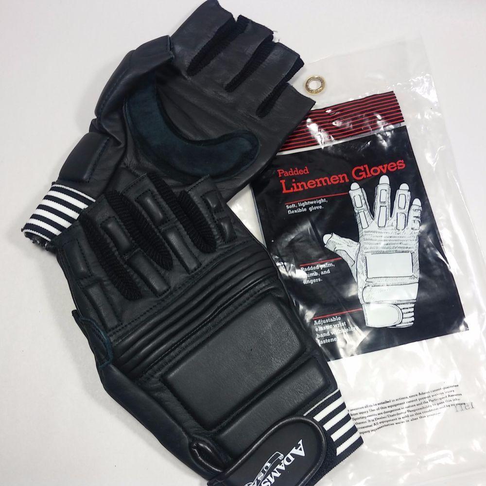 New adams usa padded leather lineman gloves adult football