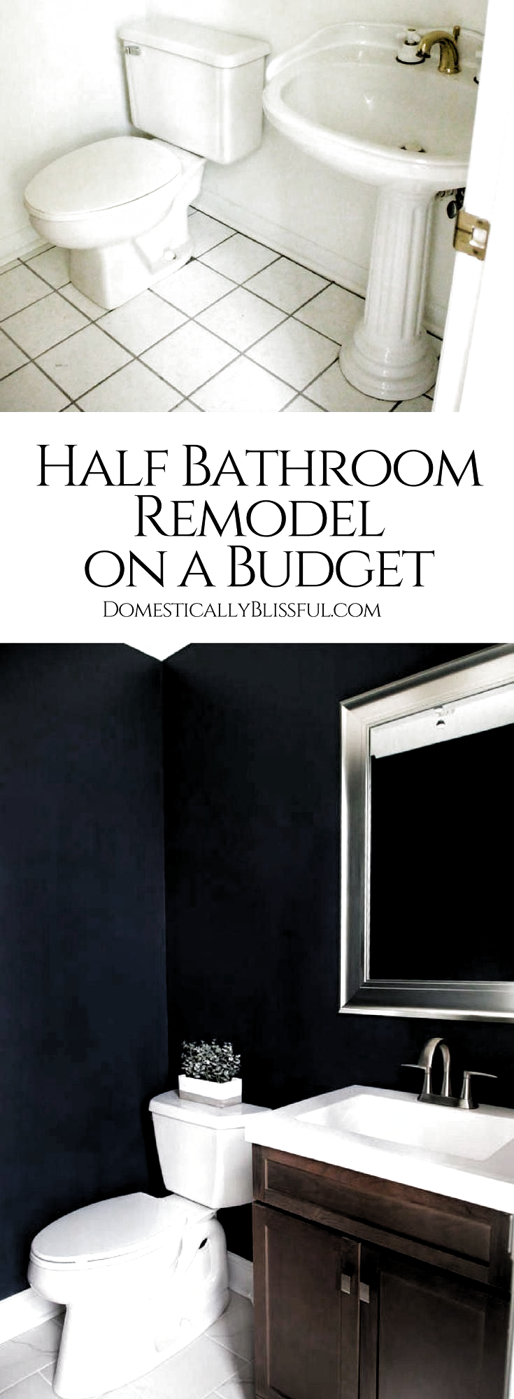 Photo of A half bathroom remodel on a budget, with before & after pictures, featuring dar…