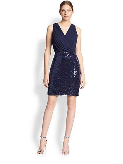 Chiffon & Sequin Dress $265.0 by Saks Fifth Avenue
