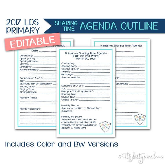 Sharing Time Agenda LDS Primary 2017 Theme by IttyBittyPixel - agenda outline