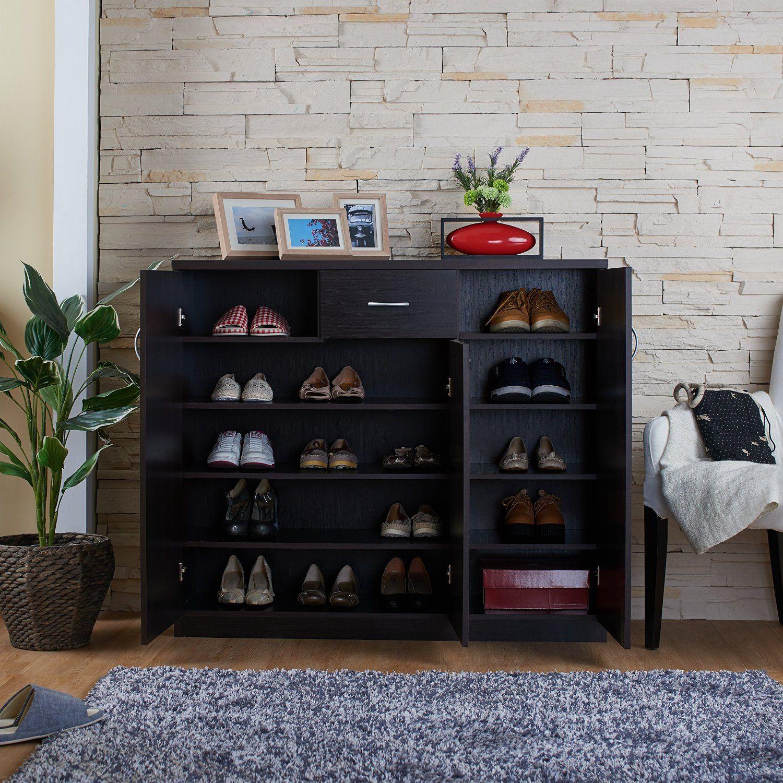 Amazon Com Furniture Of America Darrion 10 Shelf Shoe Cabinet Espresso Shoe Storage Cabinet Shoe Storage Storage Cabinets