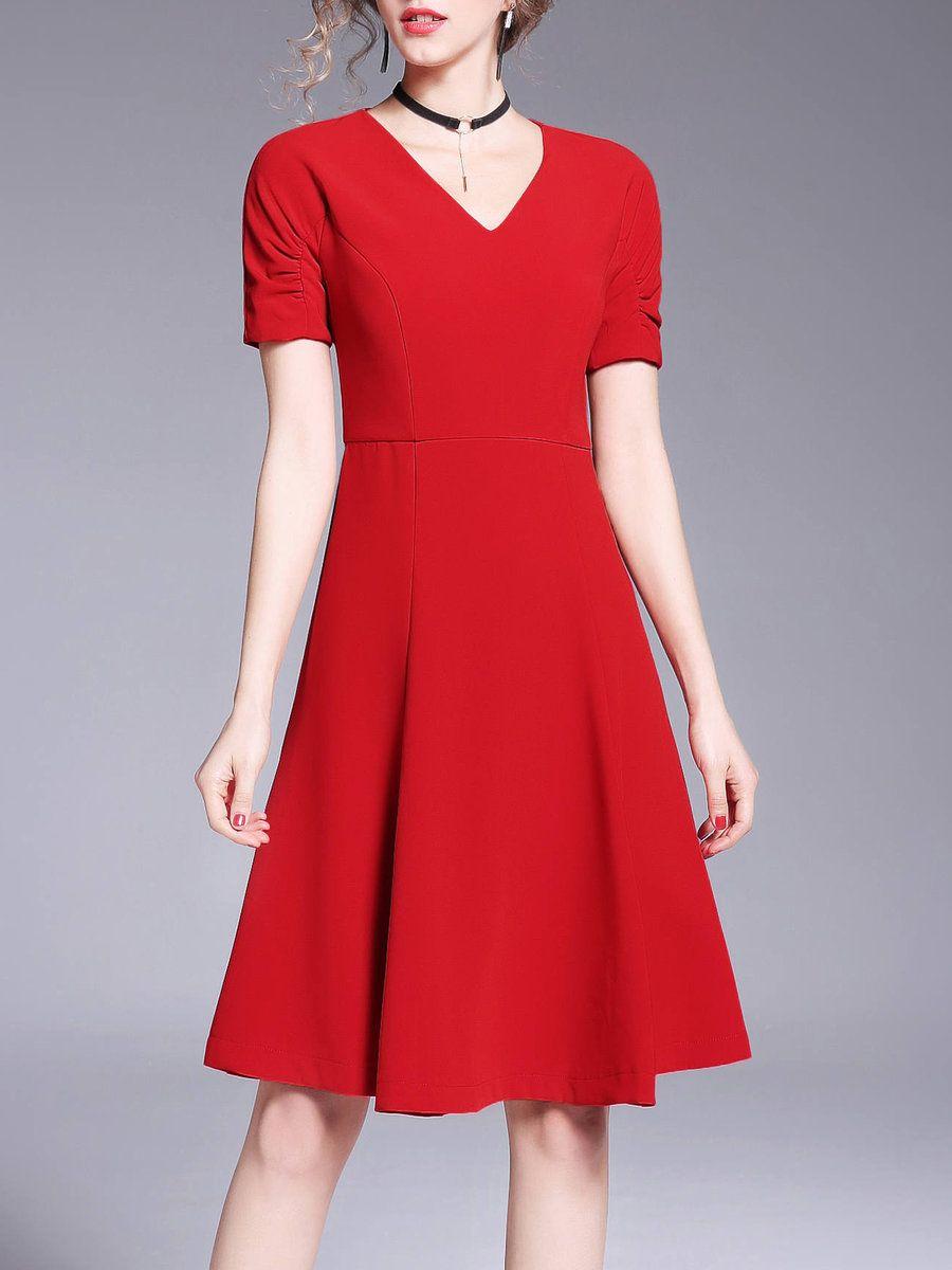 AdoreWe StyleWe Midi Dresses OULIE V Neck Short Sleeve Casual